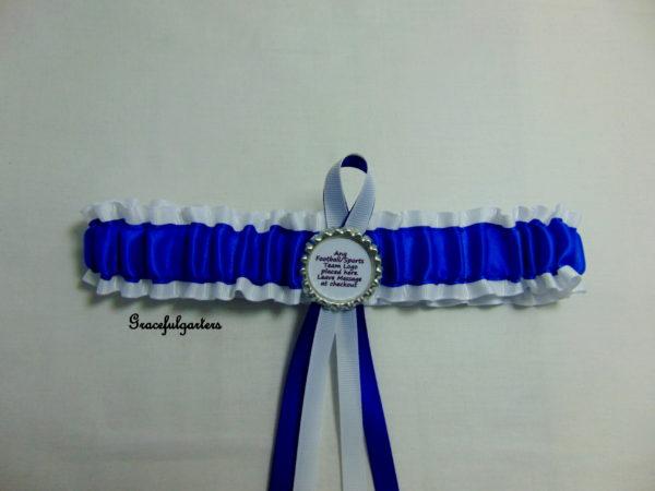 Royal Blue And White Football Team Sports Bridal Wedding Garter