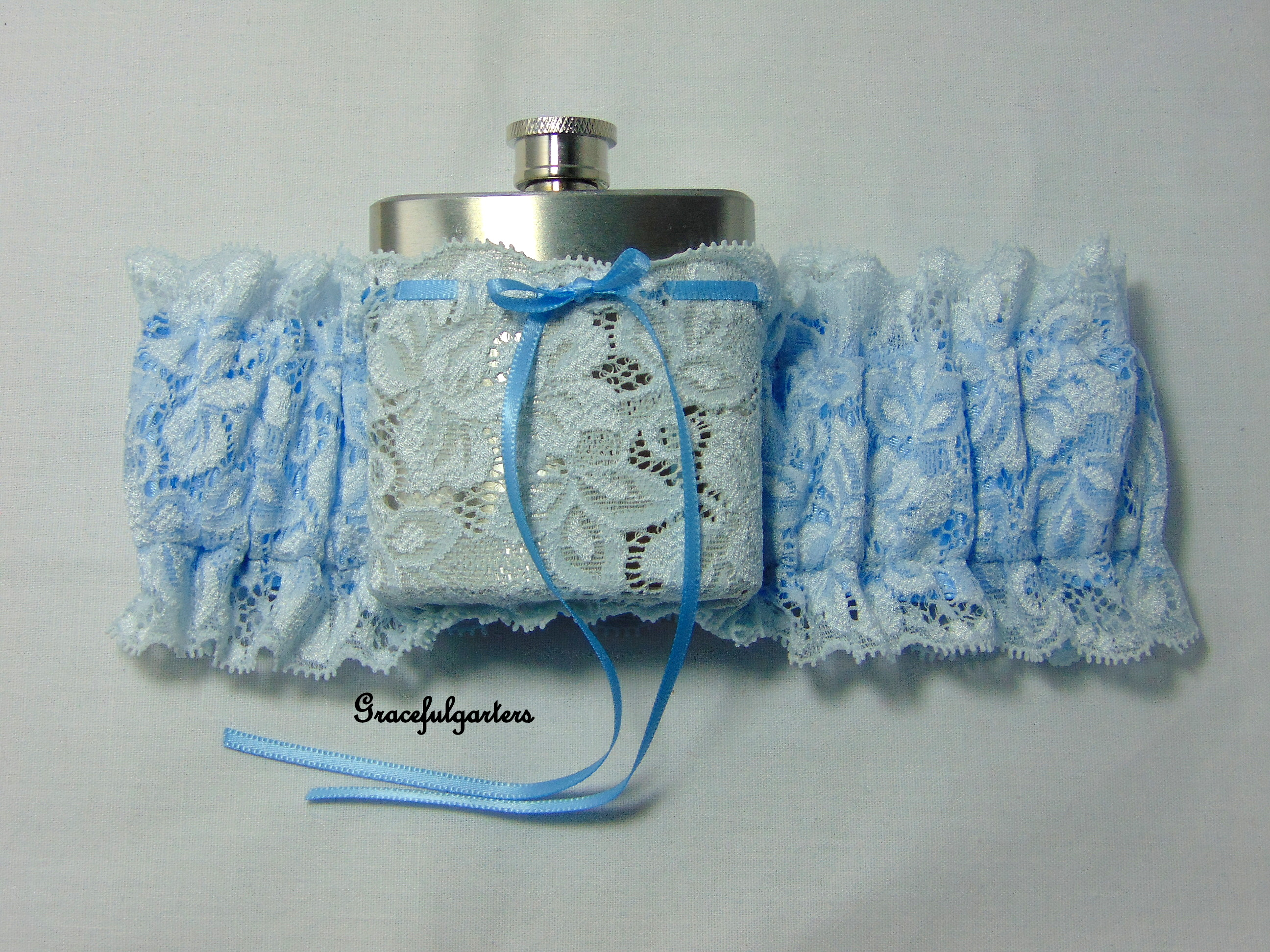 blue Lace Hip Flask Bridal Wedding Garter