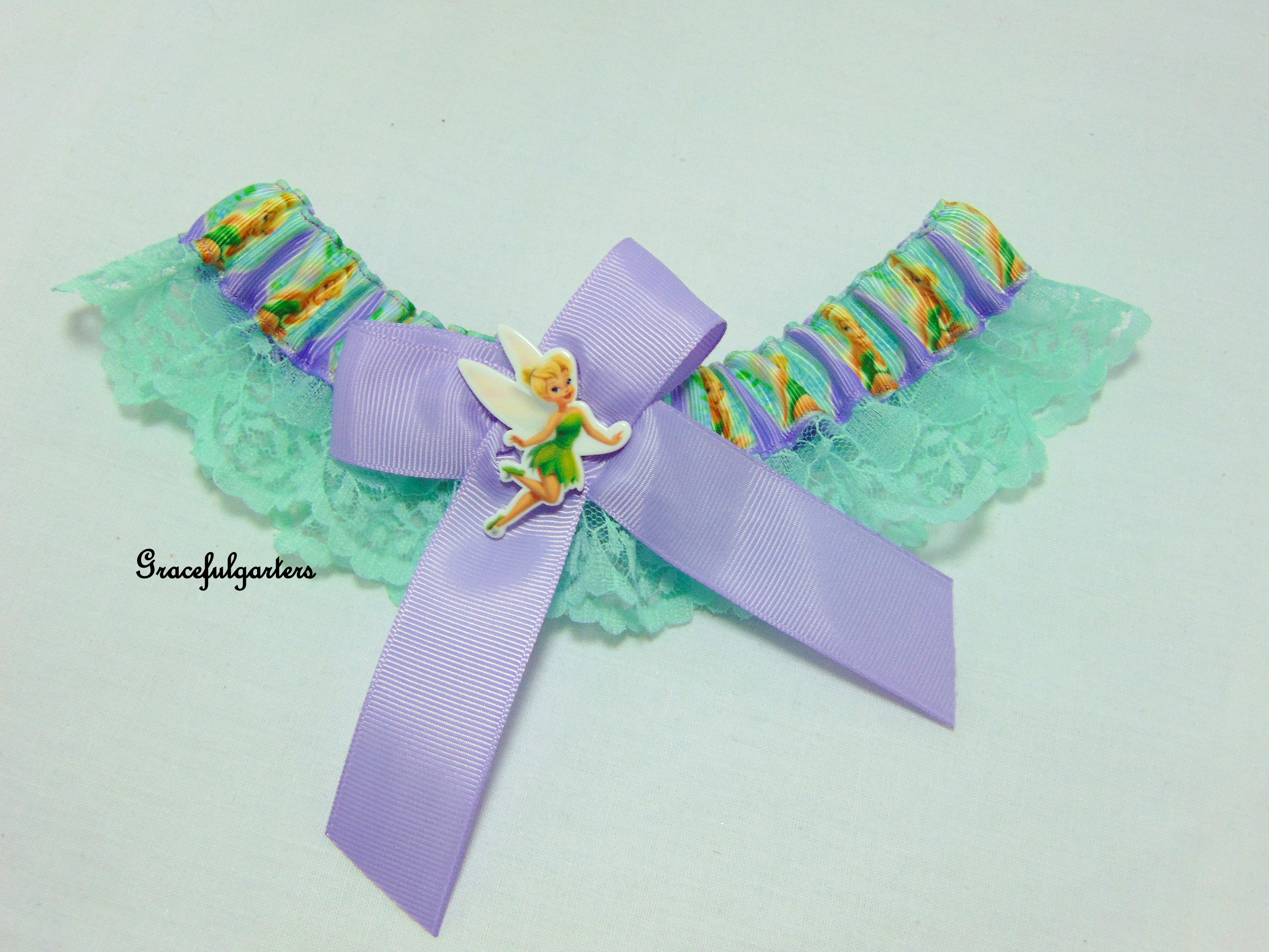 Tinkerbell Lace trimmed Disney Bridal Wedding Garter