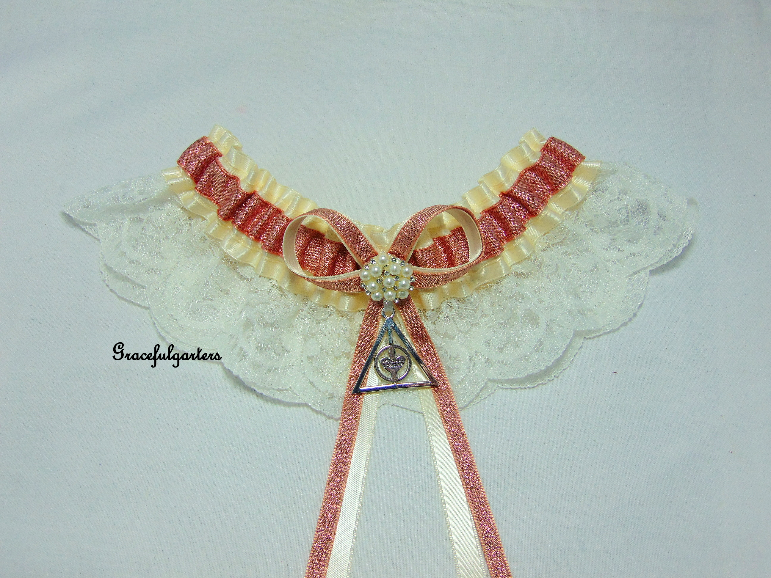 Harry Potter Deathly Hallows Always After All This Time Ivory Lace Wedding Garter.