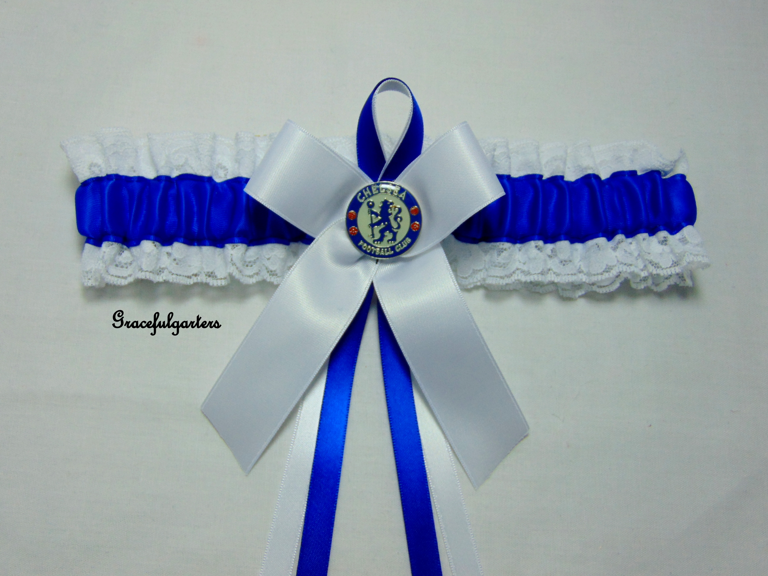 Lace Trimmed Chelsea Football Team Bridal Wedding Garter