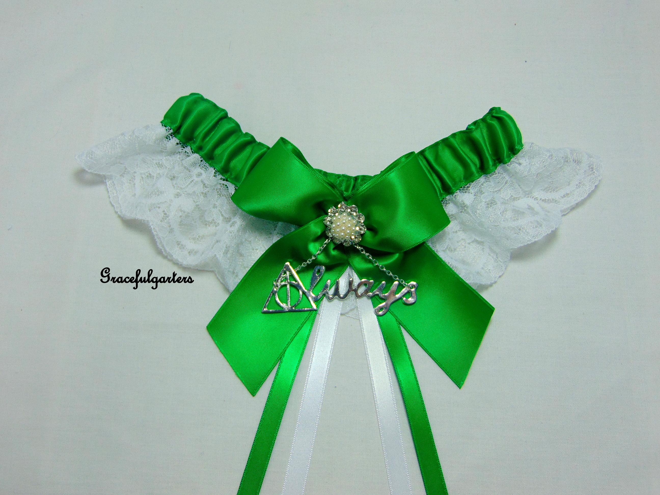 Emerald Green Harry Potter Deathly Hallows Always Lace Wedding Garter.