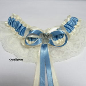 isney Minnie Mouse Ivory & Blue Lace Bridal Wedding Garter