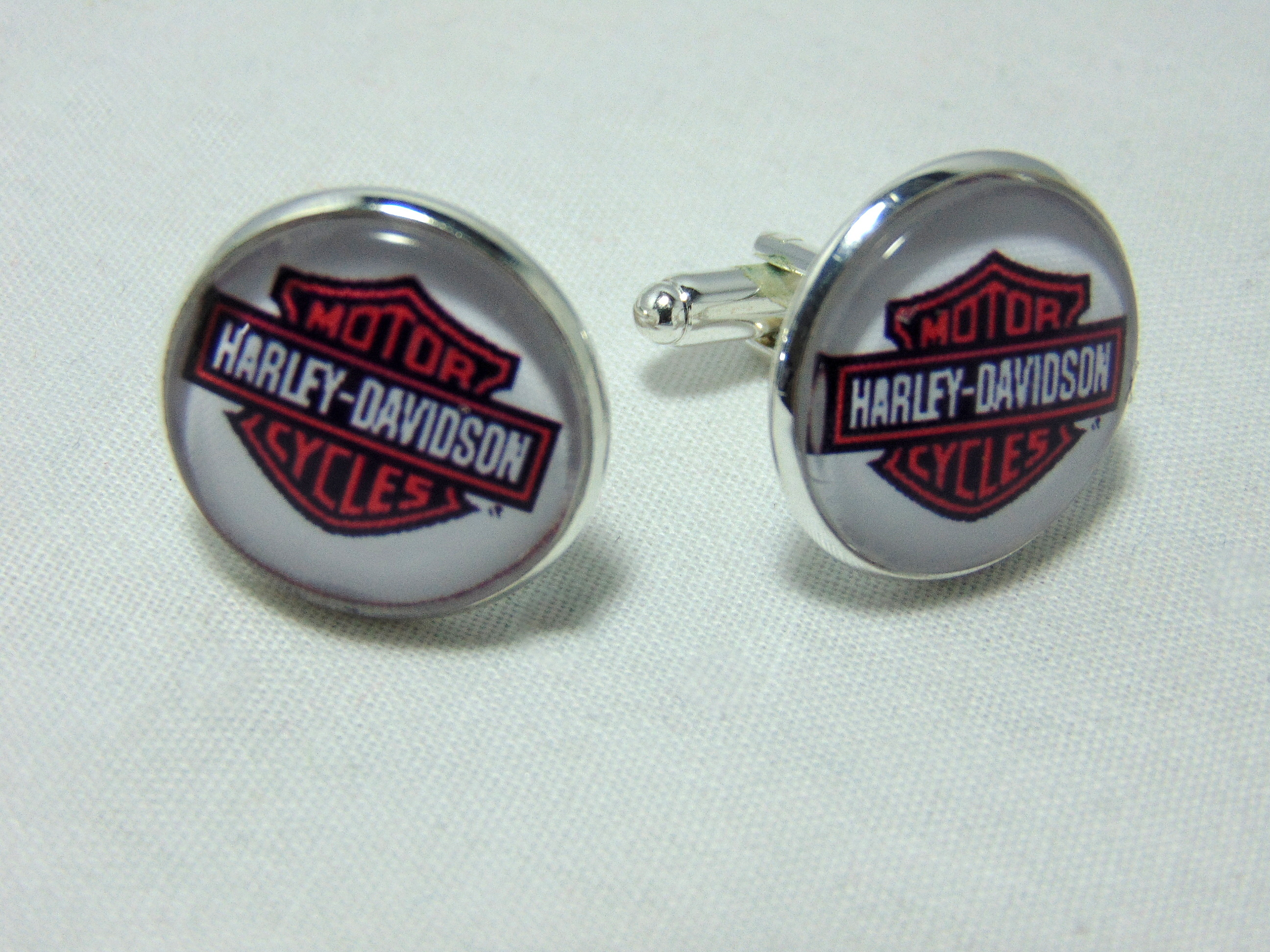 Harley Davidson Biker Silver Cufflinks.