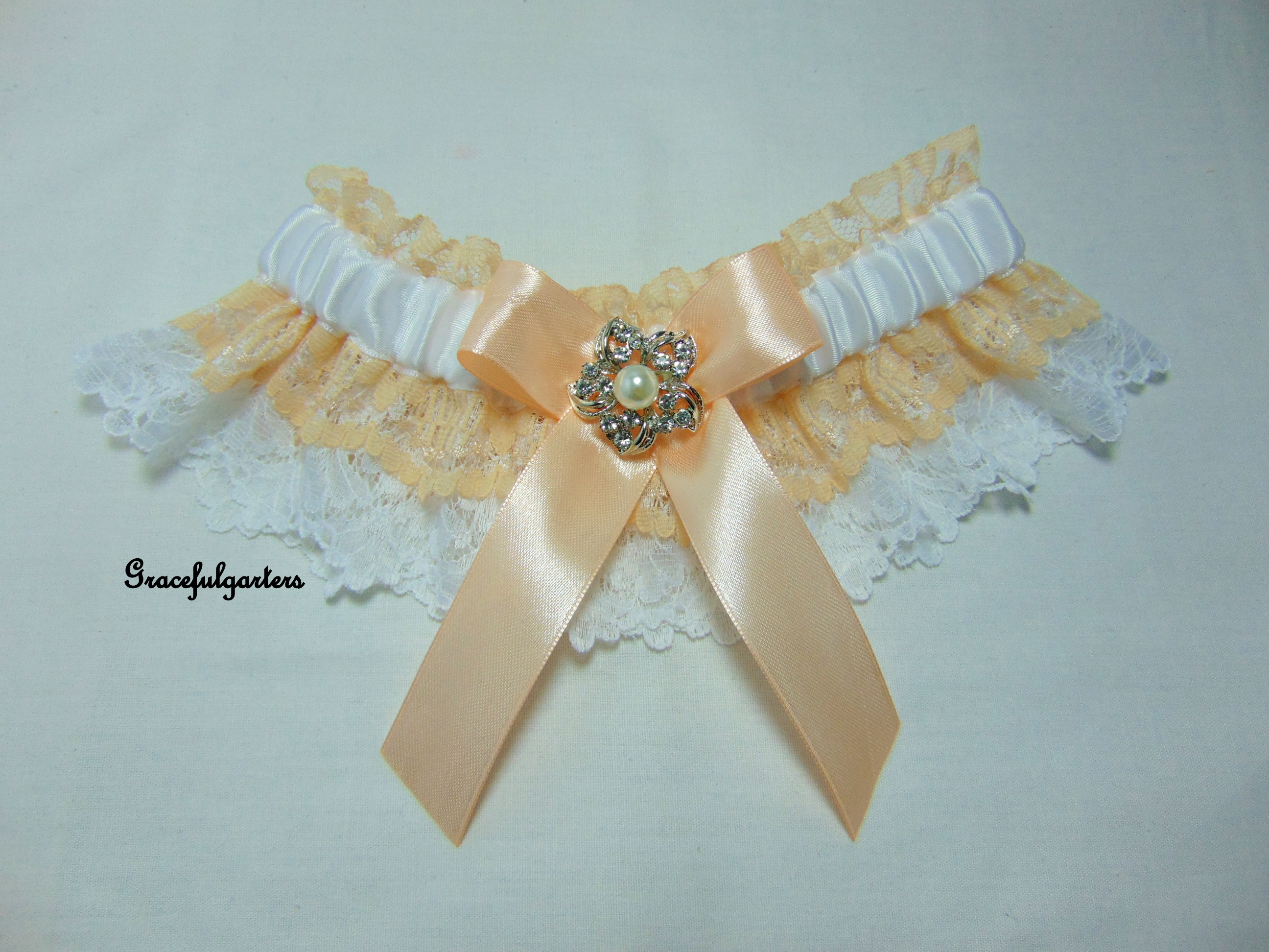 White & Peach Lace Vintage Inspired Bridal Wedding Garter