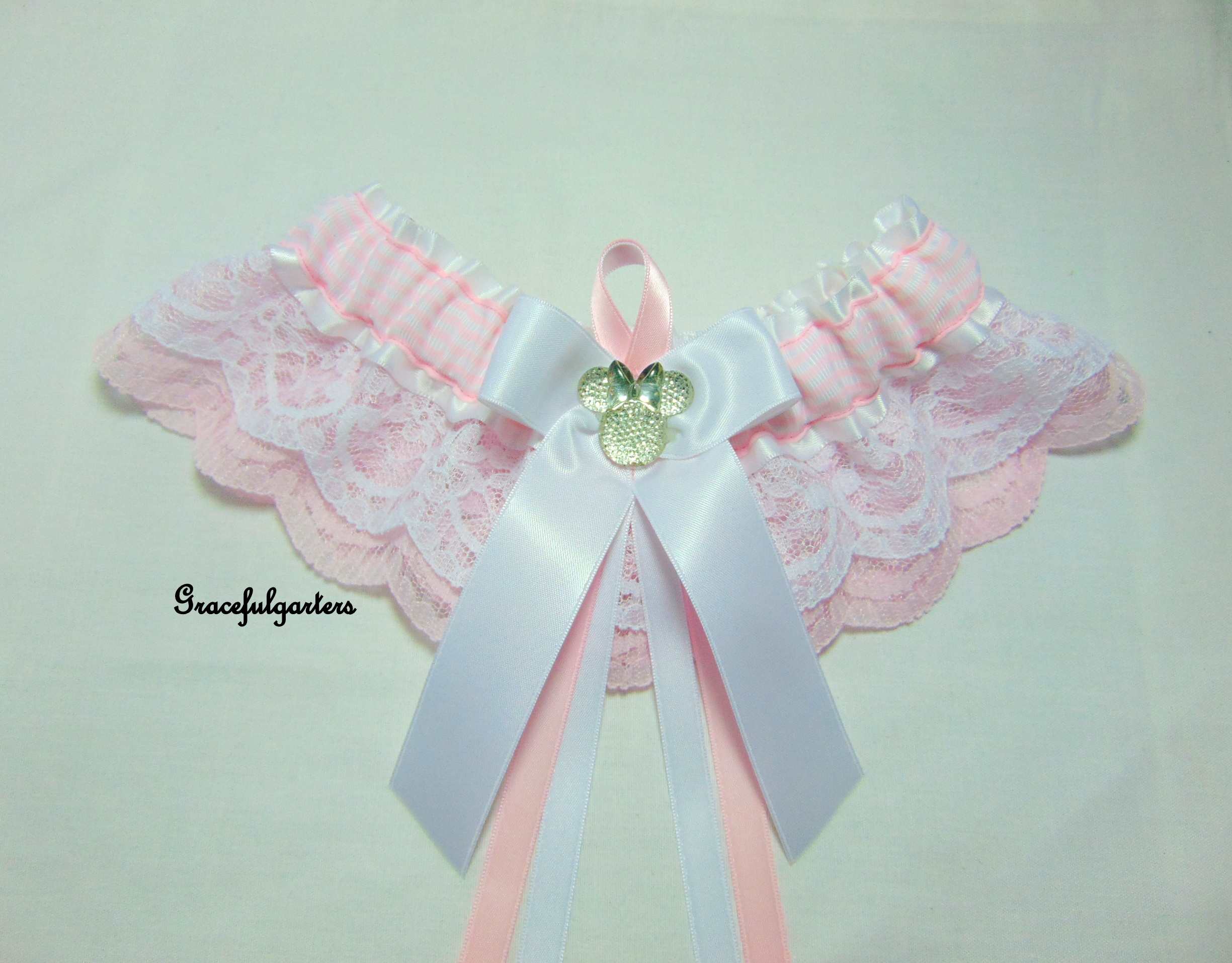 Disney Minnie Mouse Double Lace Pink Stripe Bridal Wedding Garter
