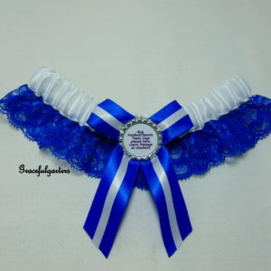 Royal Blue And White Lace Football Team Sports Bridal Wedding Garter