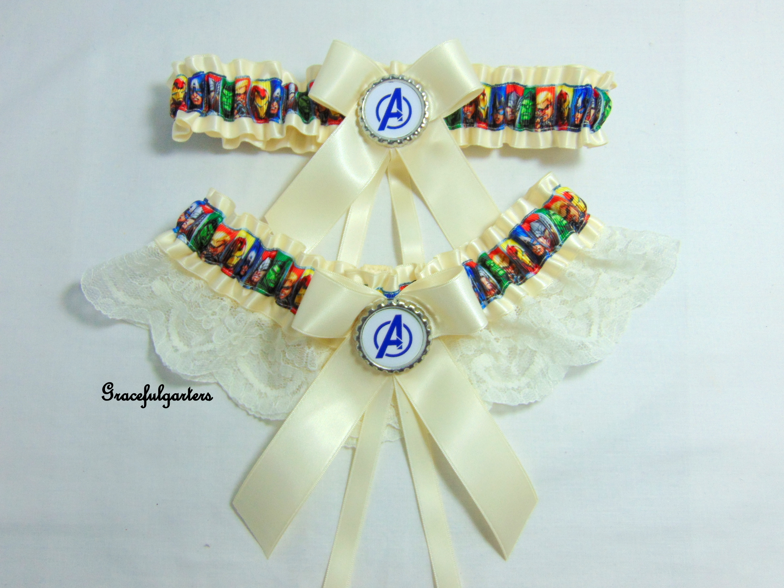Avengers superhero Lace Bridal Wedding Garter set