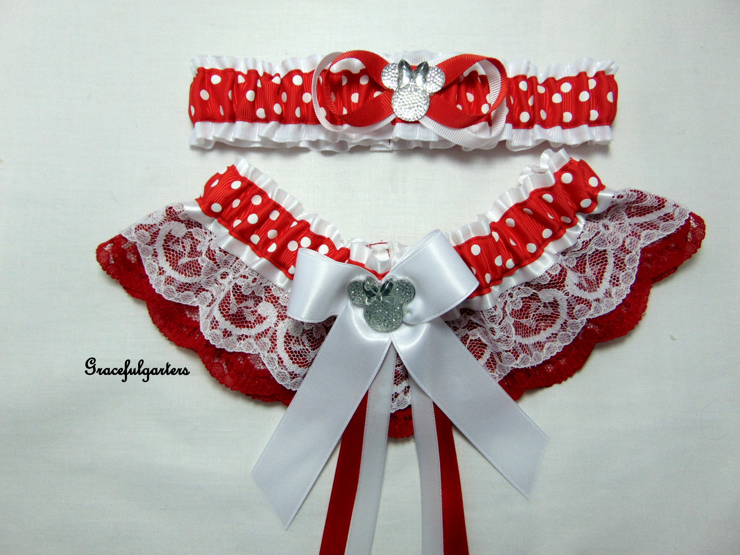 Disney Minnie Mouse Polka Dot Lace Bridal Wedding Garter Set