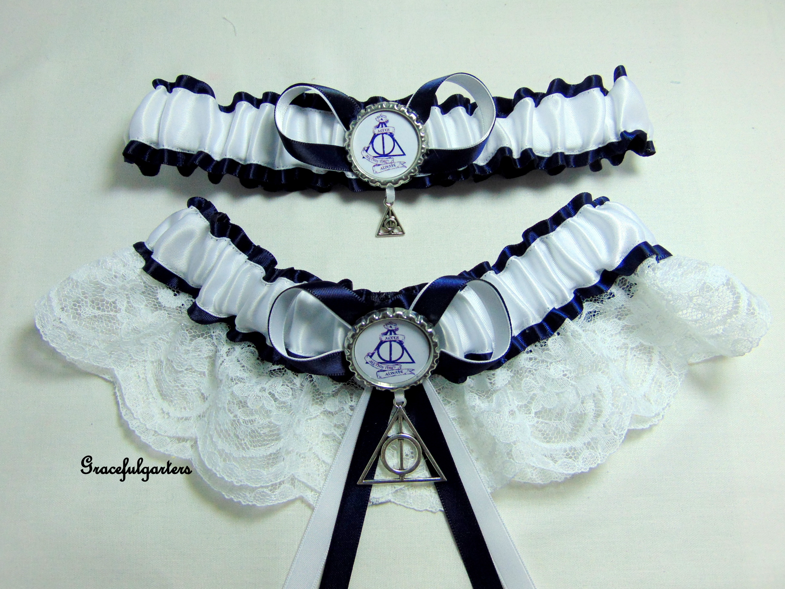 Harry Potter Deathly Hallows After All This Time Lace Bridal Wedding Garter Set