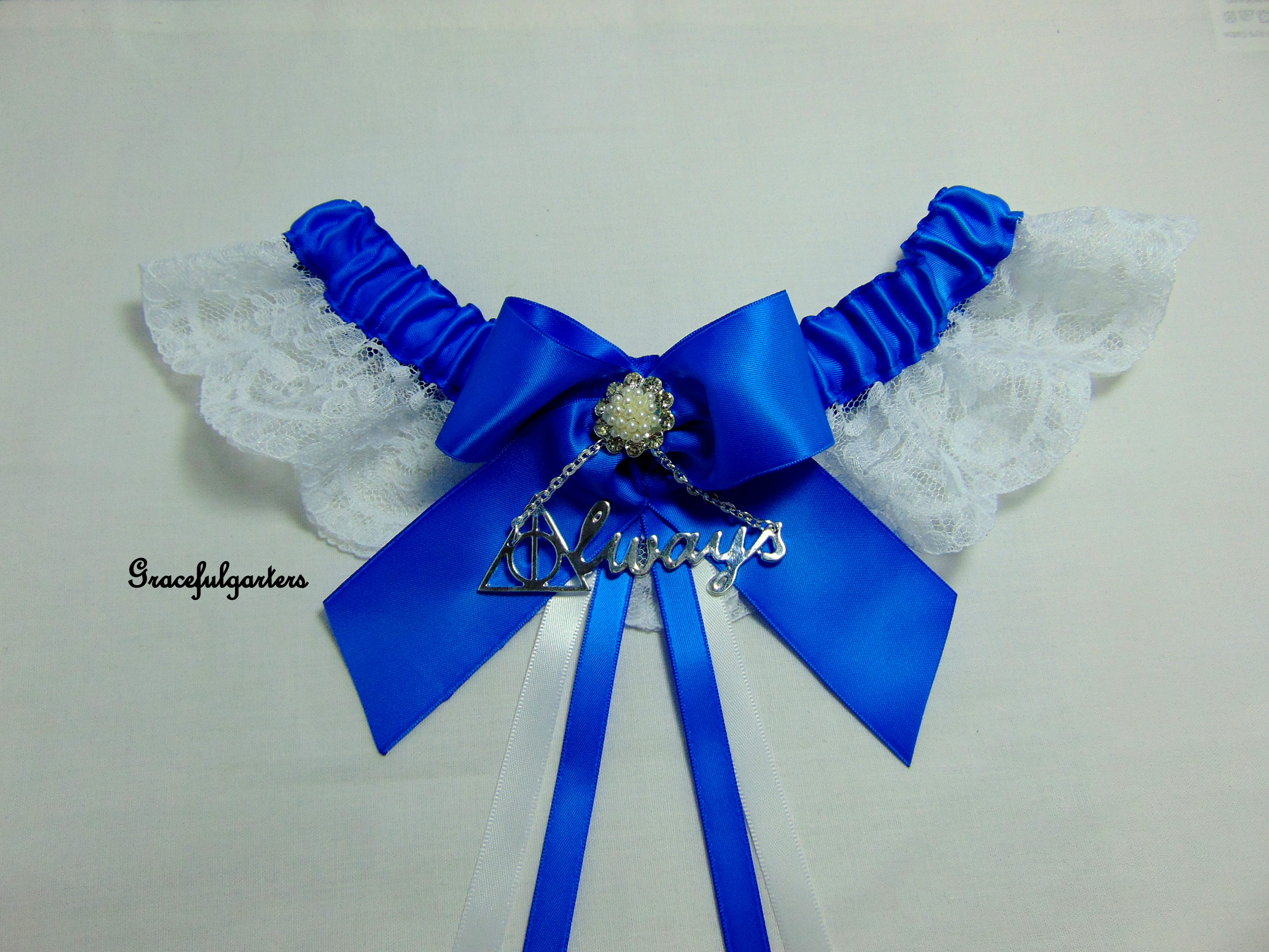 Azure Blue Harry Potter Deathly Hallows Always Lace Wedding Garter.