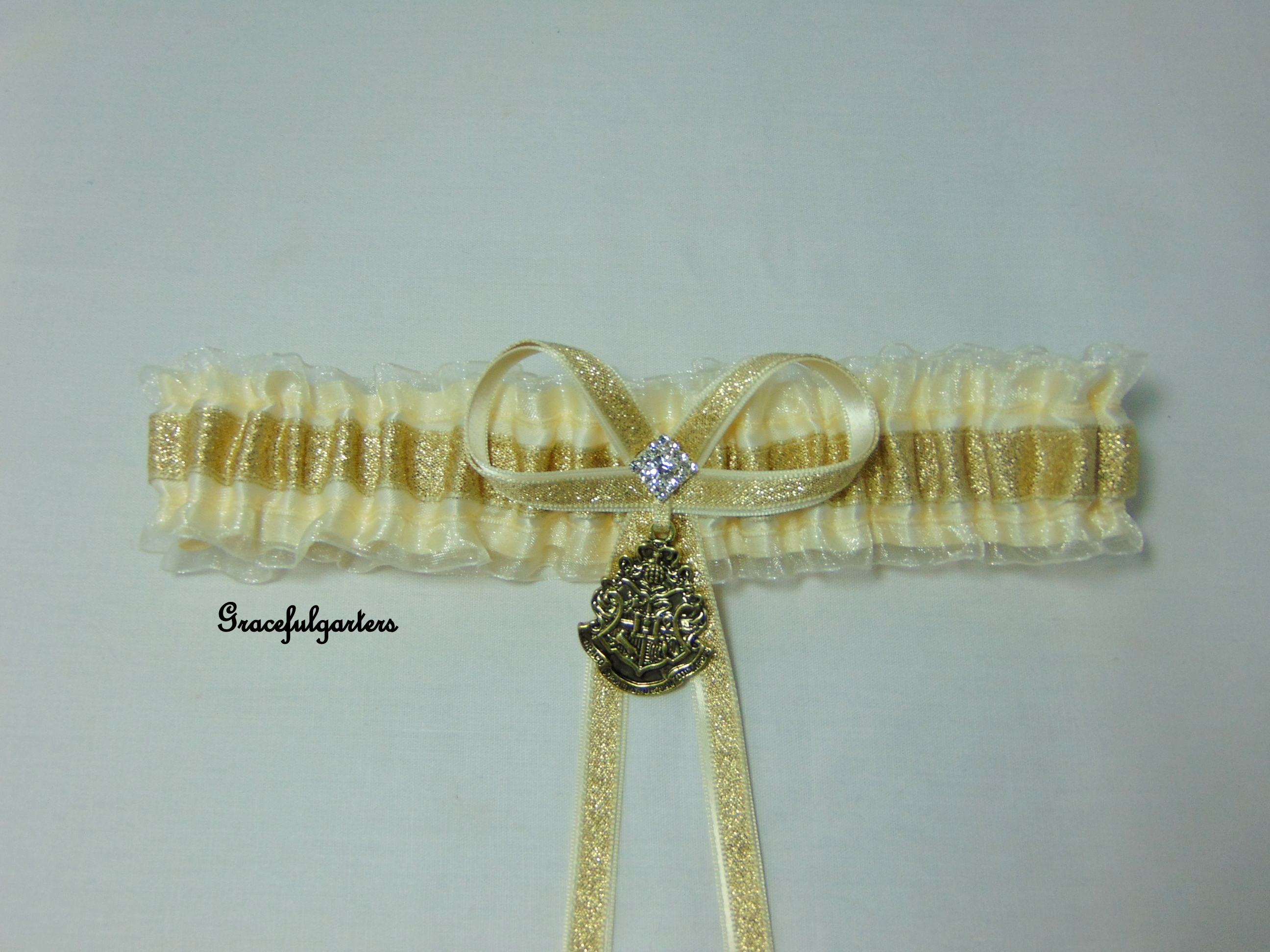 Harry Potter Golden Hogwarts Organza Bridal Wedding Garter