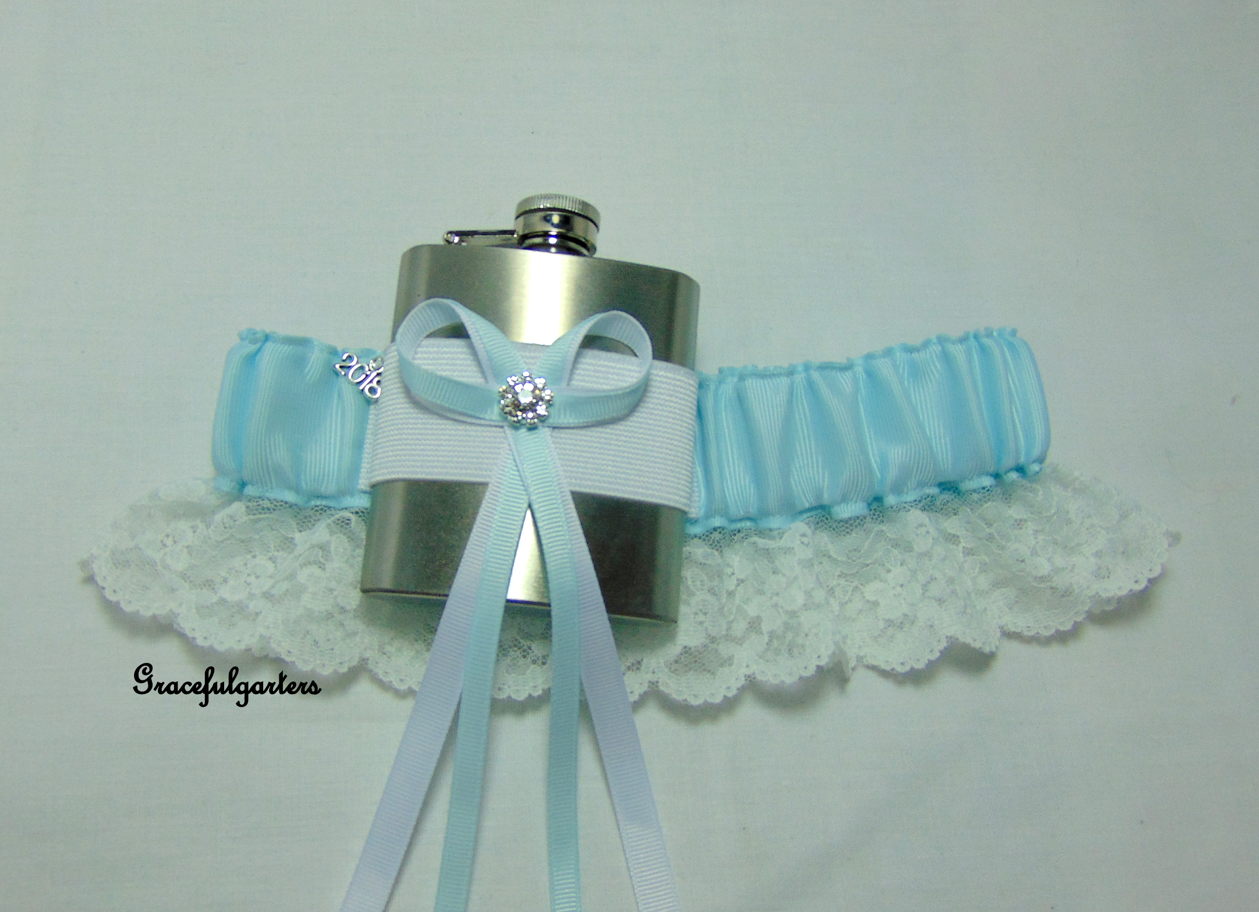 Pale Blue Lace Trimmed HipFlask Bridal Wedding Garter