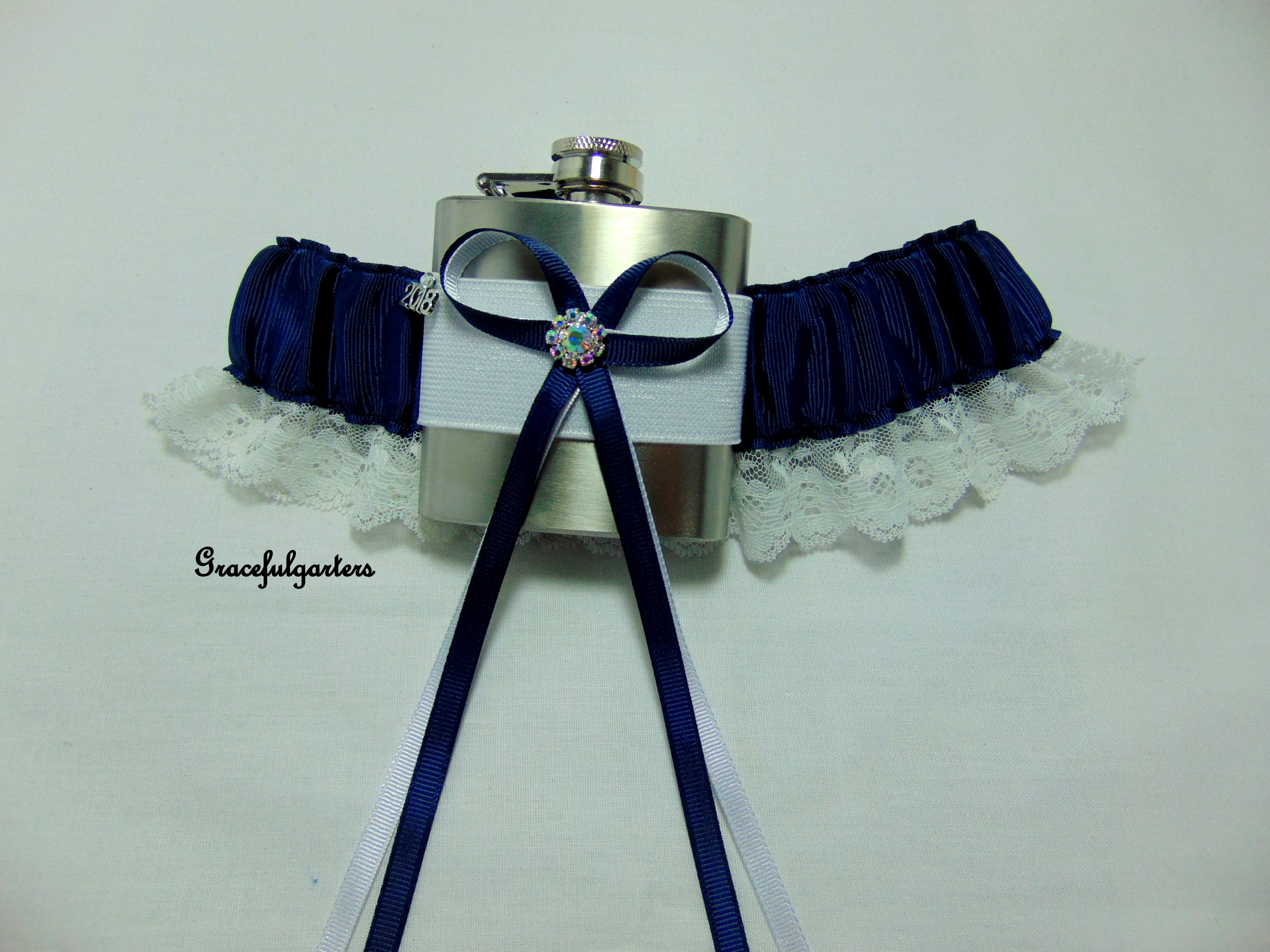 Navy Blue Lace Trimmed HipFlask Bridal Wedding Garter