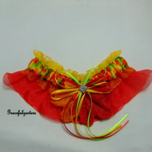 Autumn Leaves Organza Bridal Wedding Garter