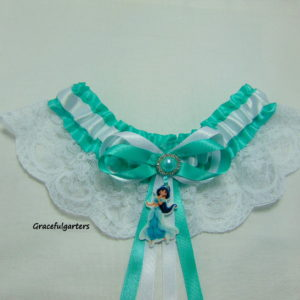 Disney Princess Jasmine Lace Bridal Wedding Garter.