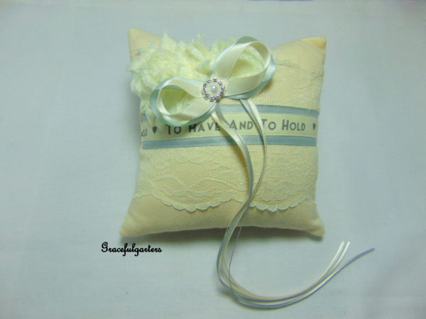 Ivory & Silver Grey To Have & To Hold Ring Cushion