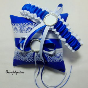 Blue & White Football Team Sports Bridal Wedding Garter & Ring Cushion/Pillow