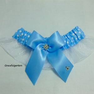 Minnie Mouse Blue Polka Dot Disney Inspired Bridal Wedding Garter