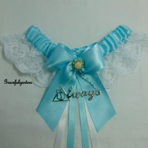 Tiffany Blue Harry Potter Deathly Hallows Always Lace Wedding Garter.