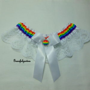 Rainbow White Lace Bridal Wedding Garter