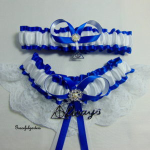 Harry Potter Deathly Hallows Royal Blue & White Always Lace Bridal Wedding Garter Set