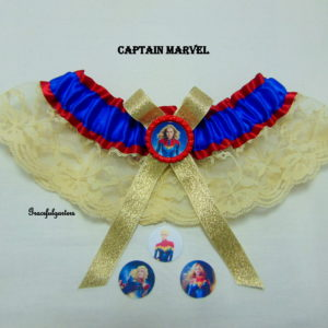 Captain Marvel Superhero Bridal Wedding Garter.