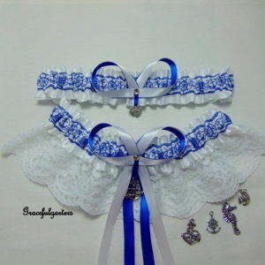 Nautical Sailor Lace Bridal Wedding Garter Set
