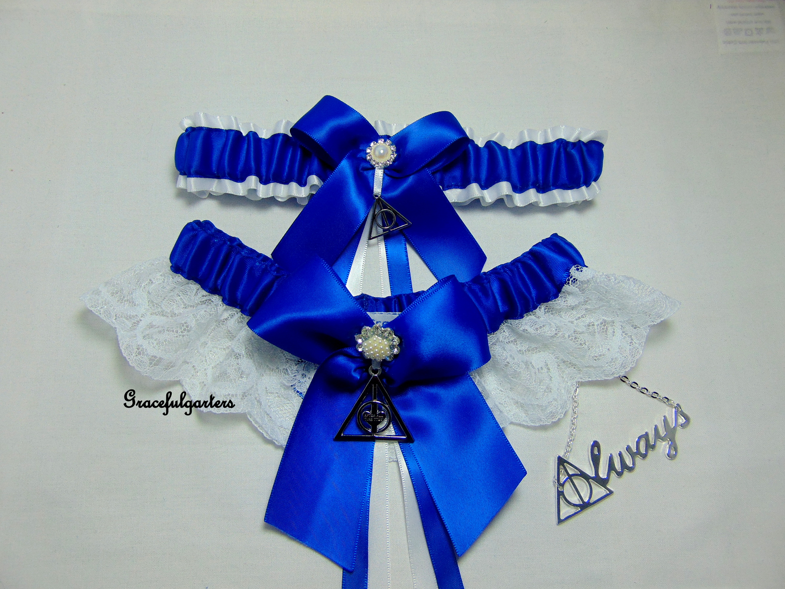 fe72f3912 Harry Potter Deathly Hallows Always After All This Time Lace Wedding Garter  Set. - GracefulGarters