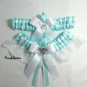 Minnie Mouse Duck Egg Blue Bridal Wedding Garter Set