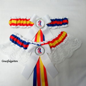 Superman and Wonder Woman Half N Half Bridal Wedding Garter set
