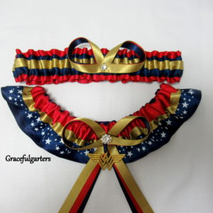Wonder Woman Superhero Bridal Wedding Garter Set