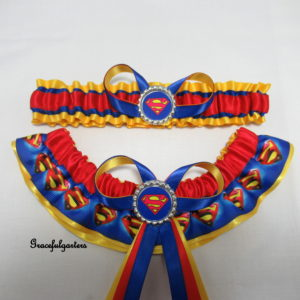 Superman Superhero Bridal Wedding Garter Set