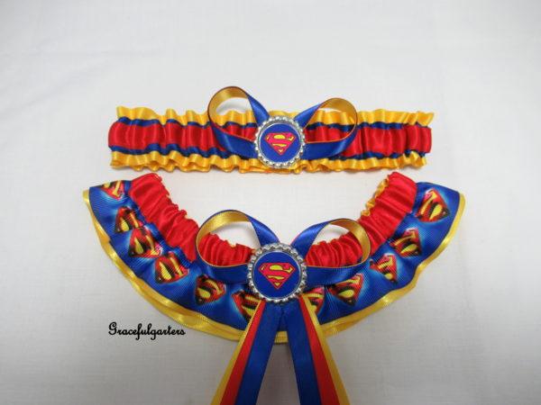 Superman Superhero Bridal Wedding Garter Set