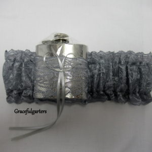 Silver Grey HipFlask Bridal Wedding Garter
