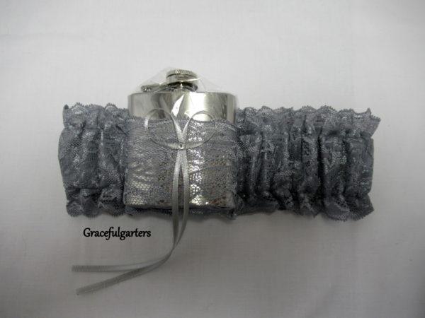 Silver Grey HipFlask Bridal Wedding Garter