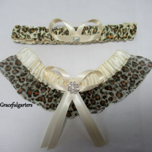 Leopard Animal Print Organza Bridal Wedding Garter Set.