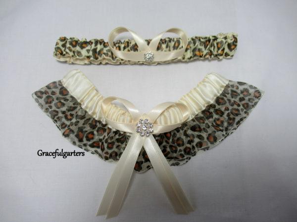 Leopard Animal Print Organza Bridal Wedding Garter Set.