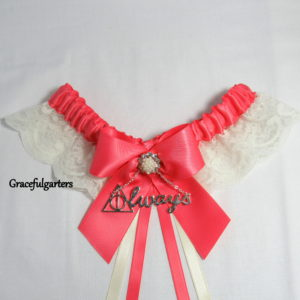Coral & Ivory Harry Potter Deathly Hallows Always Lace Wedding Garter.