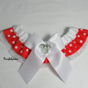 Disney Minnie Mouse Organza Polka Dot Bridal Wedding Garter