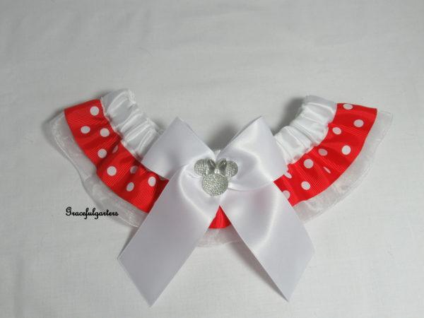 Disney Minnie Mouse Organza Polka Dot Bridal Wedding Garter