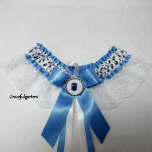 Cornflower Blue Doctor Who Tardis Lace Bridal Wedding Garter