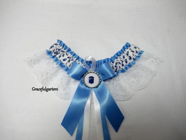Cornflower Blue Doctor Who Tardis Lace Bridal Wedding Garter