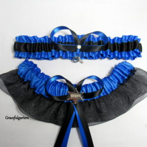 Blue Line Handcuffs Sheriff Bridal Wedding Garter Set