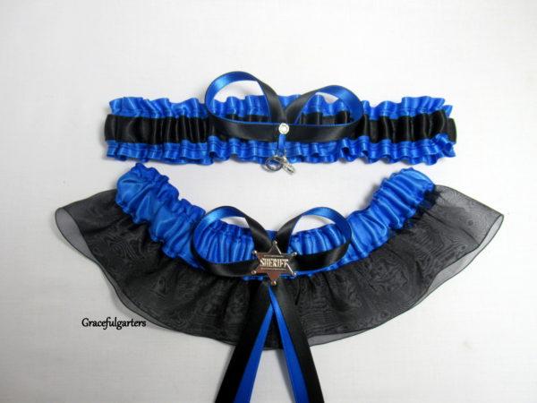 Blue Line Handcuffs Sheriff Bridal Wedding Garter Set