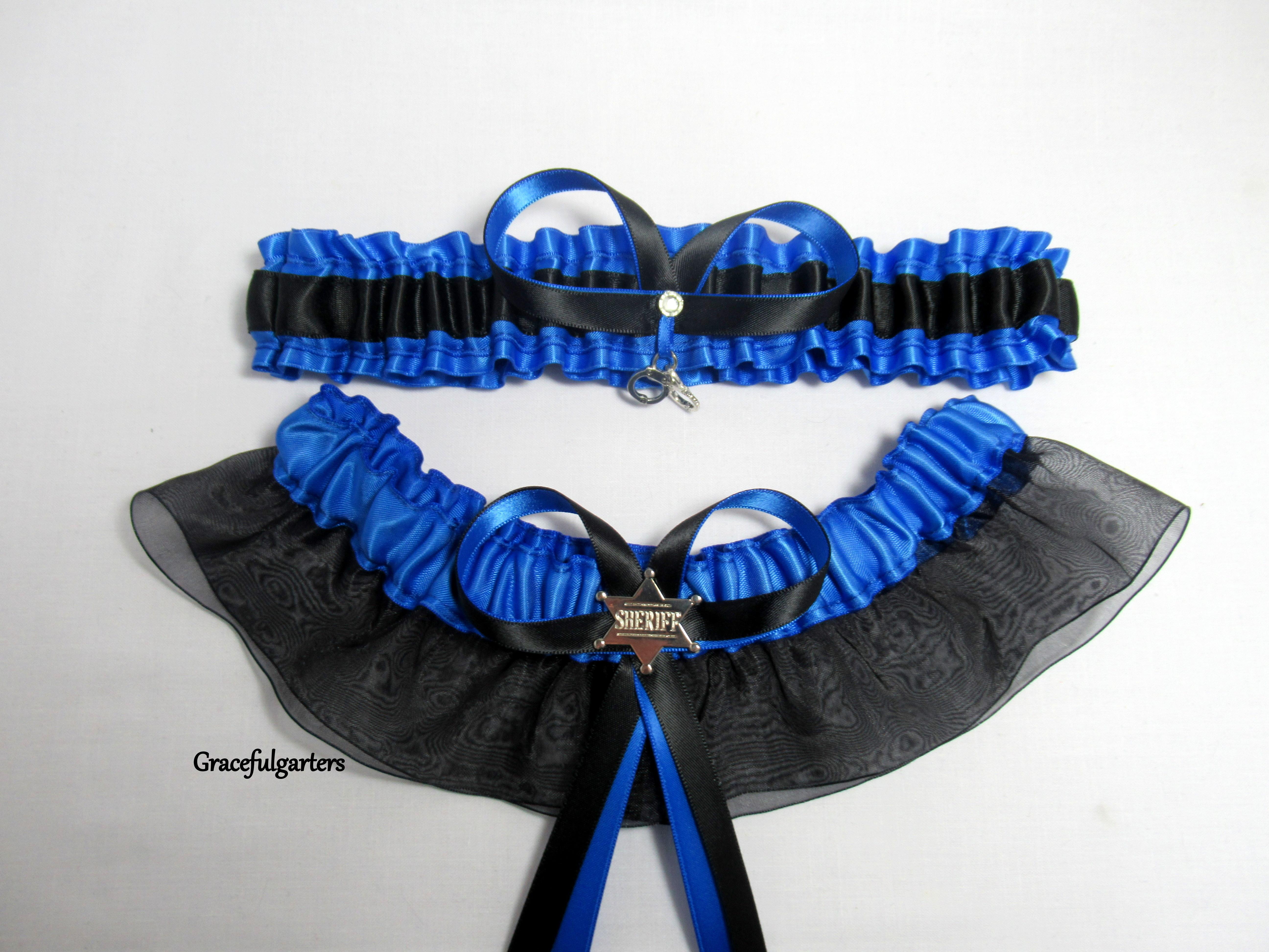 76b7997a2d9 Blue Line Handcuffs Sheriff Bridal Wedding Garter Set - GracefulGarters