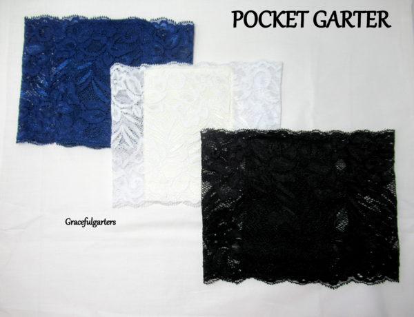 Lace Pocket Garter. Hands Free Pocket Pouch Garter.