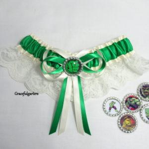 The Incredible Hulk Superhero Lace Bridal Wedding Garter