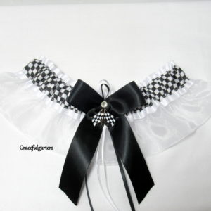 Checkered Flag Racing Team Organza Bridal Wedding Garter.