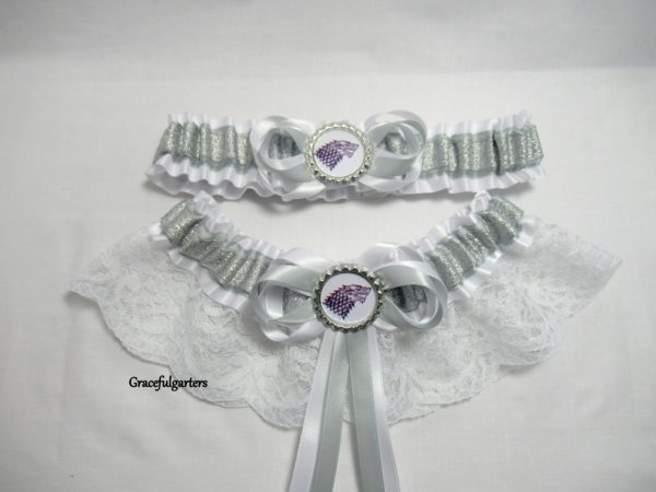 Game of Thrones House Of Stark Bridal Wedding Garter Set.